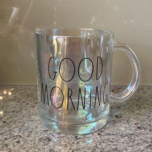 """Rae Dunn Iridescent """"Good Morning"""" Glass Mug"""